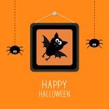 Schläger im Bilderrahmen auf Nagel Hängende Spinnen Glückliche Halloween-Karte Flaches Design des orange Hintergrundes Lizenzfreie Stockfotos