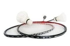 Schläger ist ein Badminton und ein shuttlecock Stockfoto