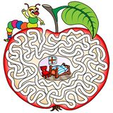 Schlängeln Sie in einem Apfel - Labyrinth für Kinder Lizenzfreie Stockfotos
