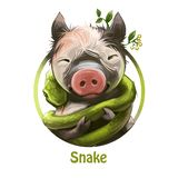 Schlängeln Sie sich das Winden um lächelndes Ferkel mit Anlage und Blättern durch digitale Kunst der Ohren Schlange und Schweinti vektor abbildung