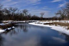 Schlängelnder DuPage-Fluss Stockbild