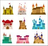 Schlösser und Designvektorikonen der Festungen flache Satz Illustrationen von Ruinen, von Villen, von Palästen, von Landhäusern u Lizenzfreie Stockfotografie