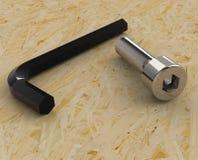 Schlüssel 3D und Schraube Stockfotografie