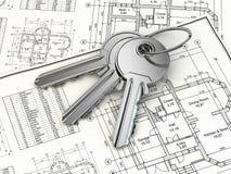 Schlüssel auf Hausplanplan. 3d Stockbild