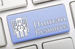 Schlüssel der menschlichen Ressource auf Tastatur Stockfotografie
