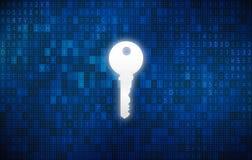 Schlüssel im Schlüsselloch mit digitalem abstraktem Technologiehintergrund Lizenzfreie Stockbilder