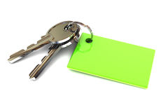 Schlüssel mit einem grünen leeren Schlüsselring Stockbild