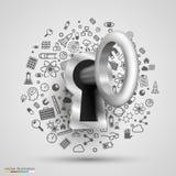 Schlüssel-Schutztechnologie des Verschlusses 3d viele Ikonen lizenzfreie abbildung