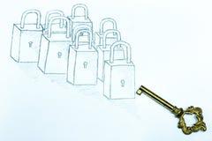 Schlüssel und abgehobener Betrag auf Weißbuch stockfotografie