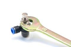 Schlüssel und pneumatische Installation Stockfoto