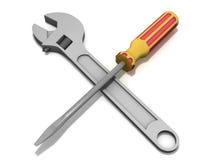 Schlüssel und Schraubendreher Stockfotos