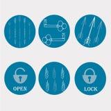 Schlüssel- und Verschlussikonen Stockbild