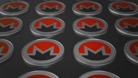 Schlüssel-Währung Monero-Münzensymbol in unscharfem Abschluss herauf Animation Schleife des Videos 4K stock video