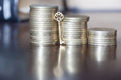 Schlüssel zum Geld Stockbilder