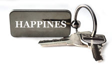 Schlüsselanhänger mit Text stockbild