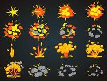 Schlüsselbilder der Bombenkarikatur-Explosionsanimation Spitzen- und Vorderansicht-Vektorillustration des Knalles lizenzfreie abbildung
