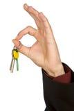 Schlüsselbund in der Hand. Stockfoto