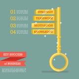 Schlüsselerfolg des Geschäfts infographic Stockfotos