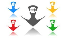 Schlüsselikone, Zeichen, 3D Illustration, beste Ikone Lizenzfreies Stockbild