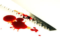 Schlüsselloch sah mit Blut Stockfotos