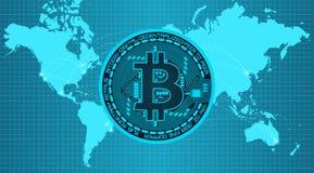 Schlüsselwährung bitcoin in den modischen blauen Farben Stockfotos