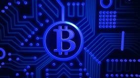 Schlüsselwährung Bitcoin von leuchtenden Partikeln Hintergrund 3D stock video