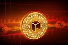 Schlüsselwährung Block-Kette Neo isometrische körperliche goldene Neomünze 3D mit wireframe Kette Blockchain-Konzept Editable Sch Lizenzfreie Stockfotos