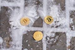 Schlüsselwährung ist bitcoin, Goldmünzen liegen auf dem Asphalt Das Geld heraus geworfen, die blinde Währung, die niemand wünscht Stockfotos