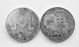 Schlüsselwährung monero auf einem weißen Hintergrund Stockfoto