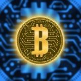 Schlüsselwährungsabstraktion einer Goldmünze Abstraktes virtuelles Geld auf einem blauen Hintergrund mit einem elektrischen Strom Lizenzfreie Stockbilder