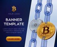 Schlüsselwährungsfahnenschablone Bitcoin Cardano isometrische körperliche Münzen des Stückchen 3D Goldenes bitcoin und Silber Car stock abbildung