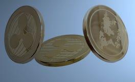 Schlüsselwährungskräuselung auf blauem Hintergrund Stockbild