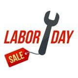 Schlüsselwerkzeugarbeitsverkaufs-Logoikone, flache Art stock abbildung