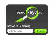 Schlüsselwort, das Websiteelement mit dem Vergrößern sucht Lizenzfreie Stockbilder