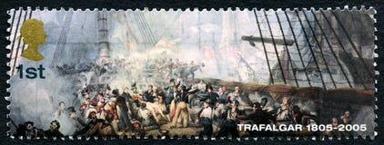 Schlacht von Trafalgar-BRITISCHE Briefmarke Lizenzfreies Stockbild