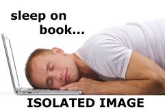 Schlaf auf Buch stockfoto