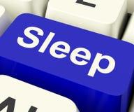 Schlaf-Computer-Schlüssel, der online Schlaflosigkeit oder schlafende Störungen zeigt Lizenzfreie Stockfotografie