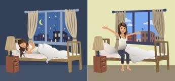 Schlaf der jungen Frau nachts im Schlafzimmer und wacht morgens auf Auch im corel abgehobenen Betrag stock abbildung