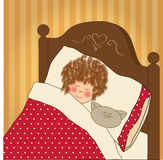 Schlaf des kleinen Mädchens mit ihrem Spielzeug Stockfotografie