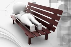 Schlaf des Mannes 3d auf Bankillustration Stockfotografie