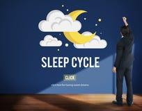 Schlaf-Zyklus-waches REM Rapid Eye Movement Dream-Entspannung Concep Lizenzfreie Stockfotos