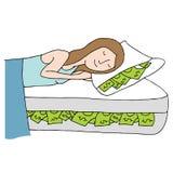 Schlafen auf Bett des Bargeldes stock abbildung