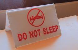 Schlafen nicht Zeichen Lizenzfreies Stockbild