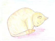 Schlafen Redhead-Katzeskizze lizenzfreie abbildung