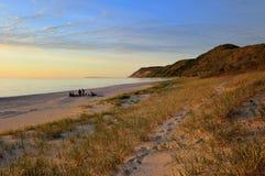 Schlafenbärn-Dünen-Sonnenuntergang-Michigansee Stockfotografie