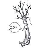 Schlafenbaum-Karikatur-Vektor-Illustration stock abbildung