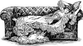 Schlafende Dame lizenzfreie abbildung