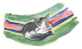 Schlafende Katze - Watercolour Lizenzfreie Stockfotos
