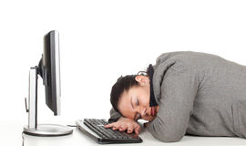 Schlafende müde fette Geschäftsfrau Lizenzfreies Stockbild