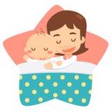 Schlafende Mutter und Baby Stockfotos